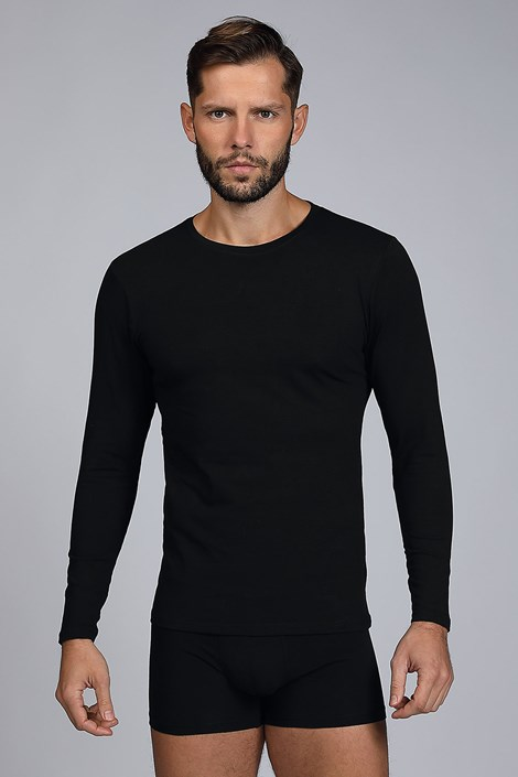 Bluza barbateasca Cotton Nature, maneca lunga, negru