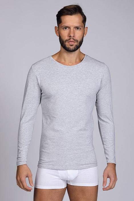 Bluza barbateasca Cotton Nature, maneca lunga, gri