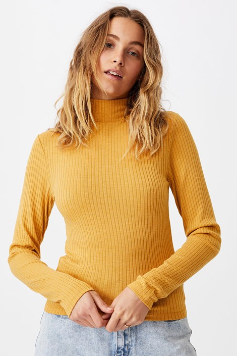 Bluza basic cu guler Mila, mustar