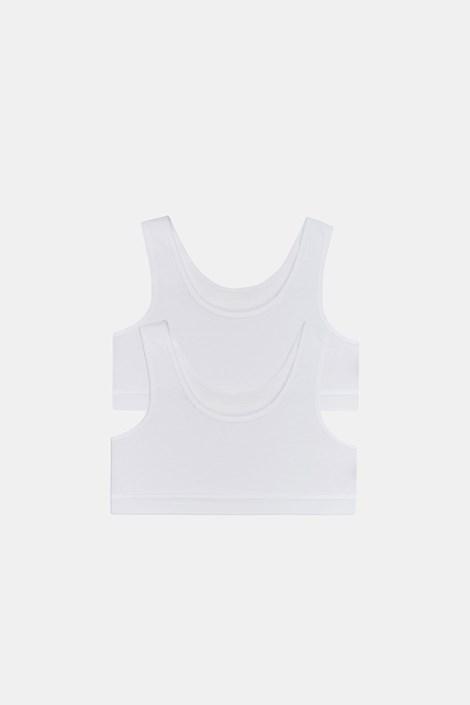 2 PACK top basic pentru fetițe Crop alb