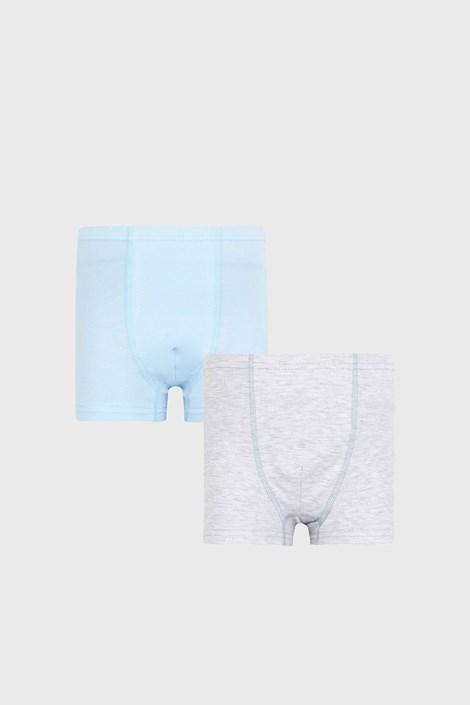 2 PACK boxeri pentru băieți Basic albastru-gri