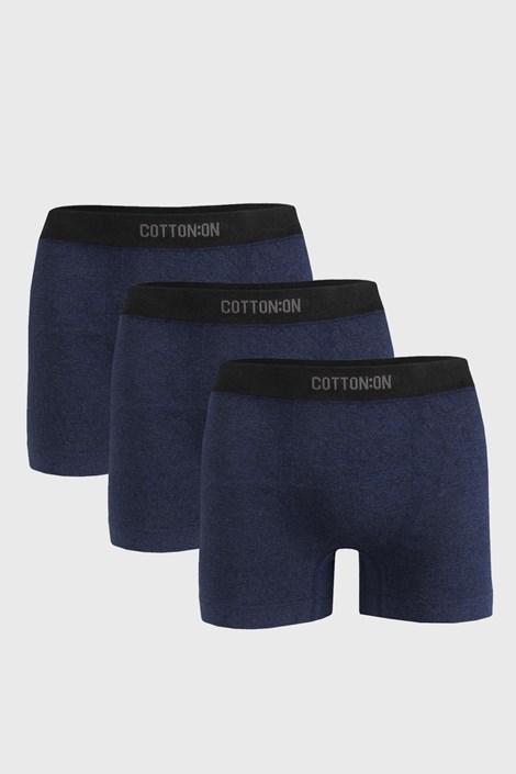3 PACK boxeri Seamless Trunk albastru închis