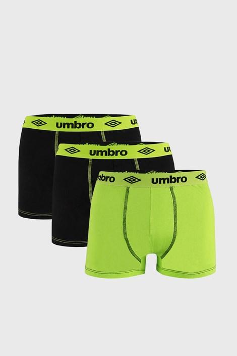 3 PACK boxeri Umbro BIO, negru-verde