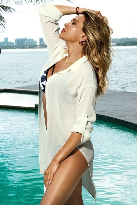 Rochie de plaja tip camasa Patricia alb