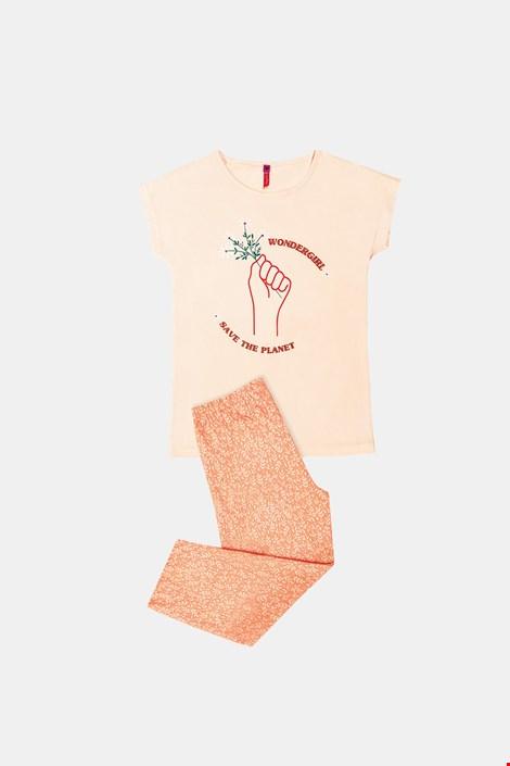 Pijamale pentru fetite Save planet portocaliu