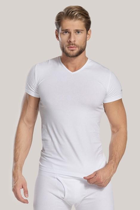 Tricou barbatesc V neck, alb