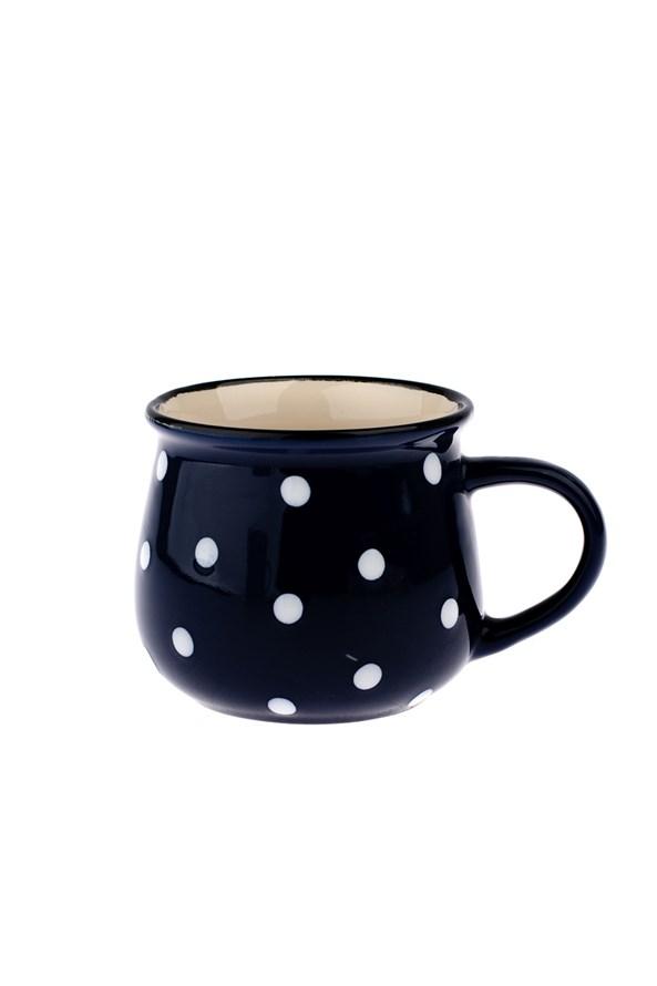 Cana ceramica cu buline albastre 230 ml