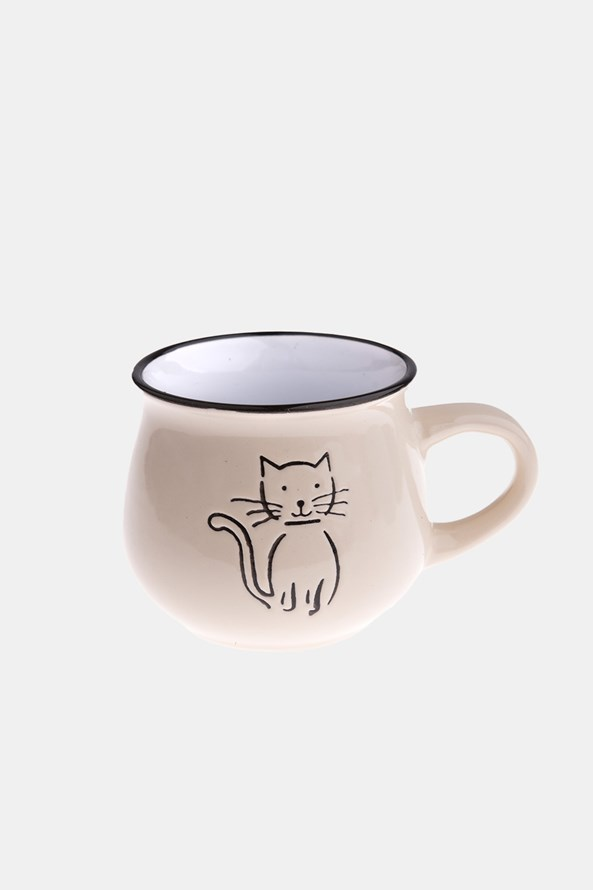 Cana ceramica cu pisica crem 213 ml