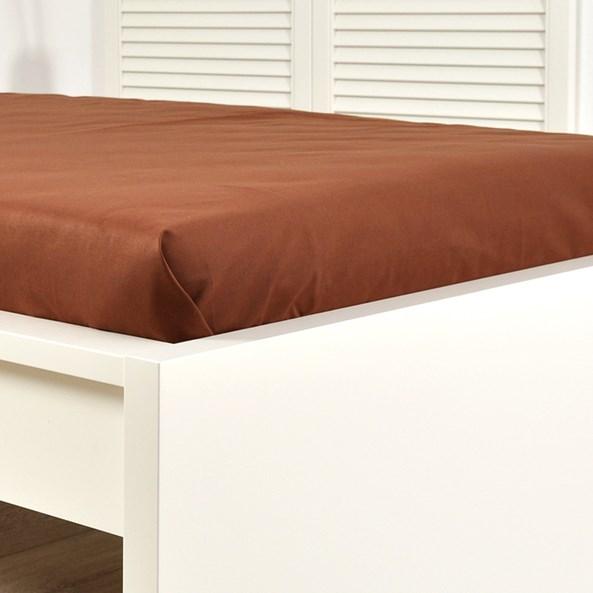 Cearșaf de pat cu elastic din jersey, maro