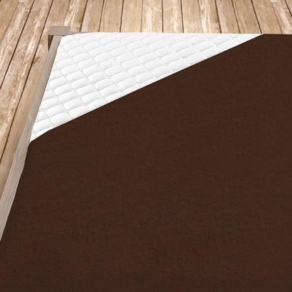 Cearsaf elastic de pat, maro