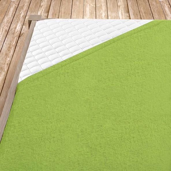 Cearsaf elastic de pat din froté, lime