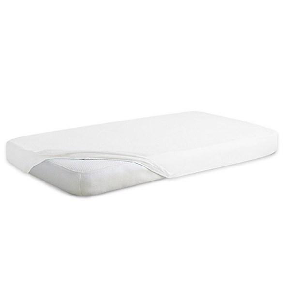Cearsaf de pat impermeabil cu elastic din froté, alb