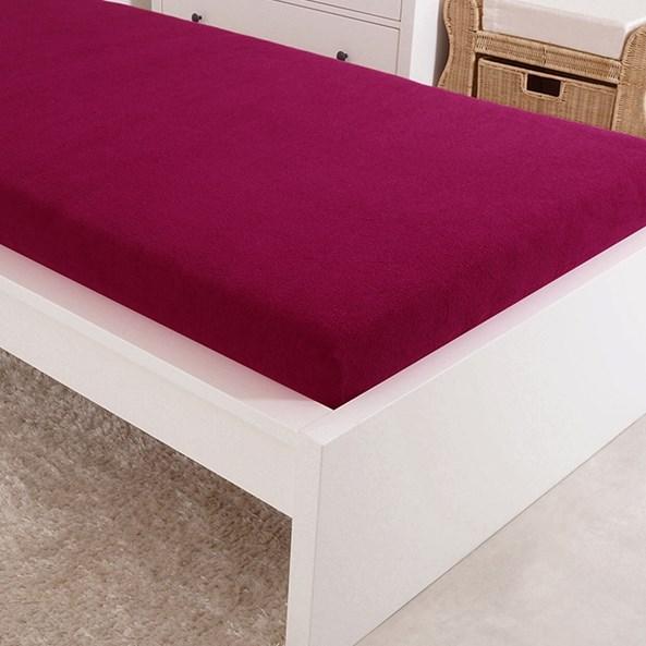 Cearșaf de pat cu elastic jersey, roz închis