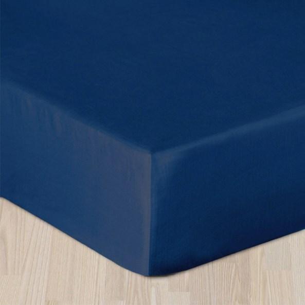Cearsaf elastic satinat, albastru inchis