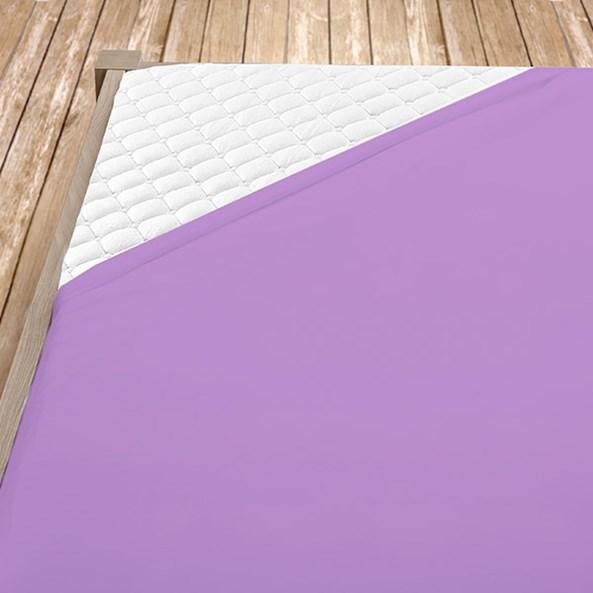 Cearsaf de pat cu eleastic din bumbac, violet