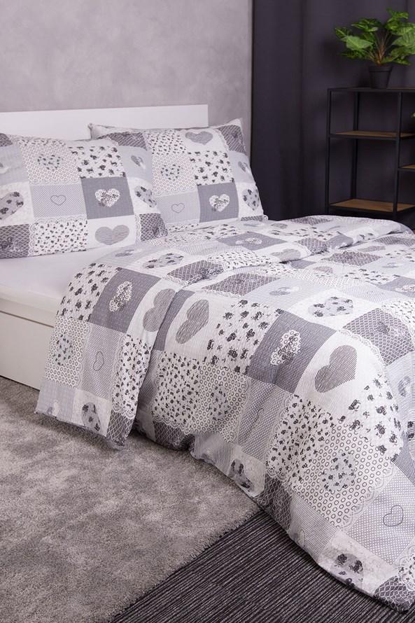 Lenjerie de pat creponată Love gri