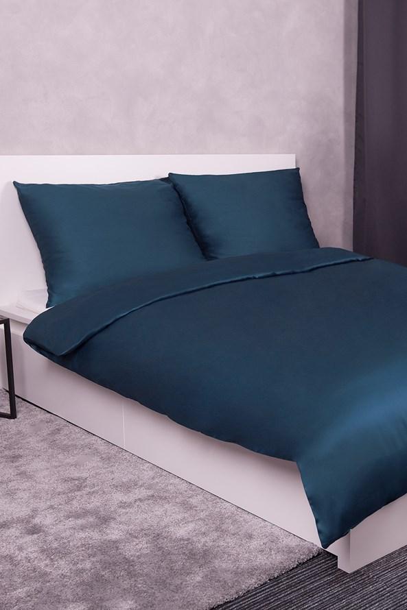 Lenjerie de pat din satin, albastru inchis