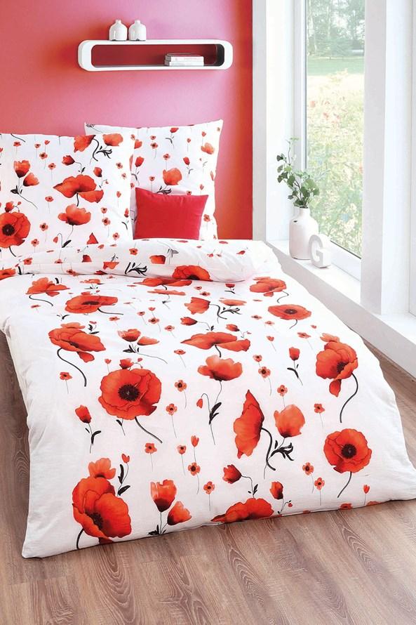 Lenjerie de pat creponată Scarlet poppies