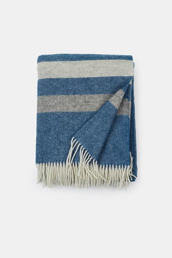 Pătură de lux din lână Stripe, albastru