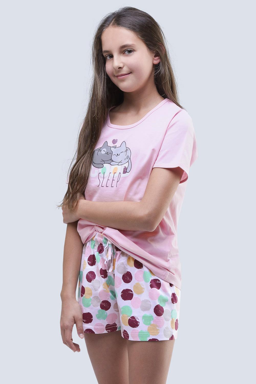 Pijama de vara Cats aqua, pentru fetite
