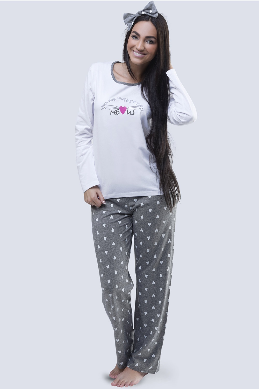Pijama dama Meow alb