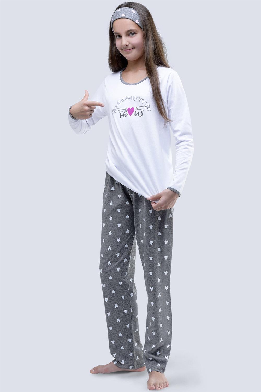 Pijama fetite Meow alb