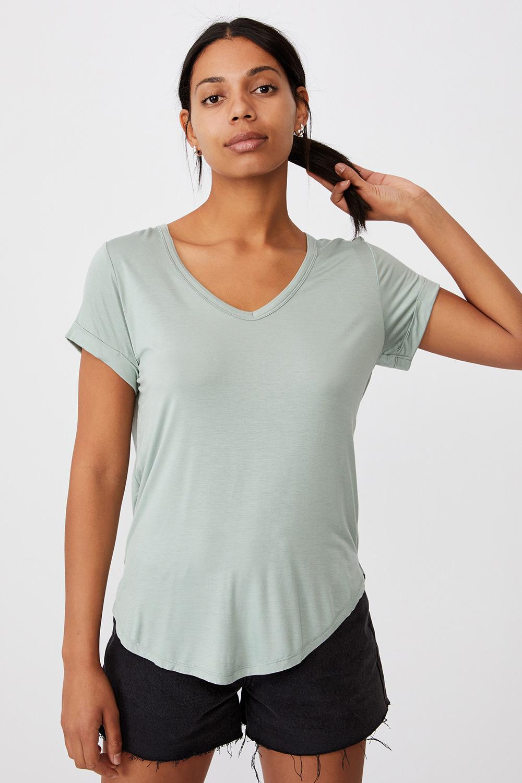 Tricou de damă basic cu mâneci scurte Karly verde deschis