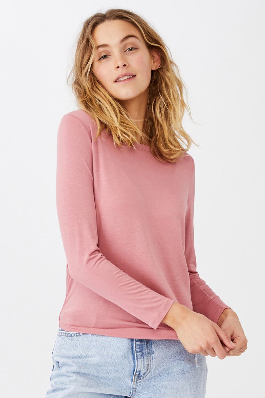 Bluza basic dama Kathleen, roz, maneca lunga