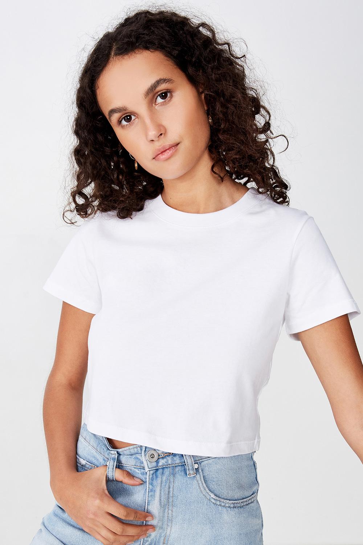 Tricou de damă basic cu mâneci scurte Baby alb
