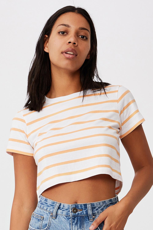Tricou de damă basic cu mâneci scurte Baby în dungi