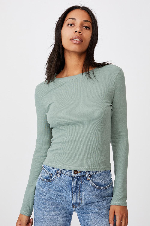 Bluza basic Turn, maneca lunga, verde