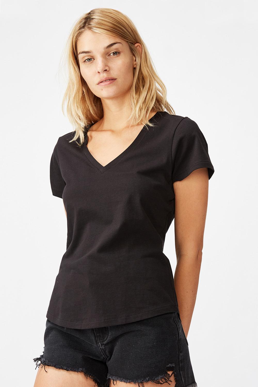 Tricou de damă basic cu mâneci scurte One negru