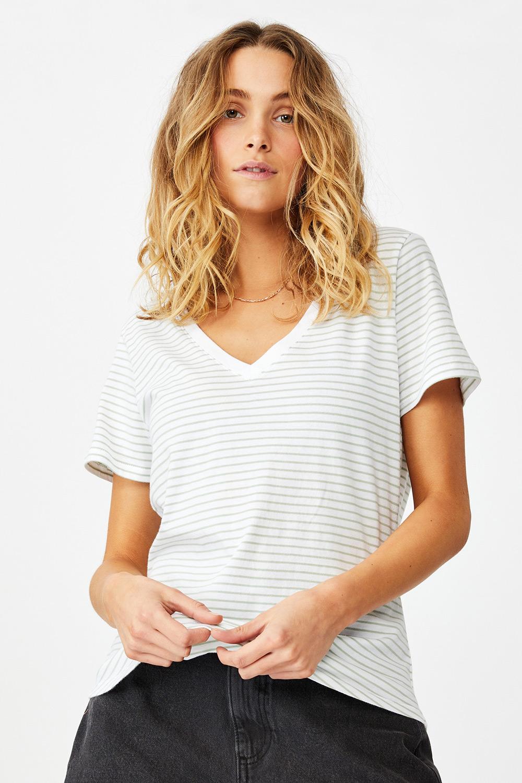 Tricou de damă basic cu mâneci scurte One în dungi