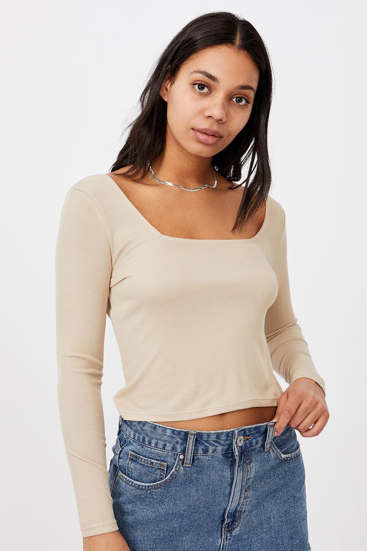 Tricou de damă basic cu mâneci lungi Serena bej