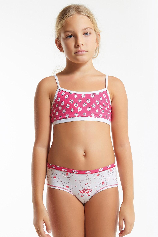 Set pentru fete Flower Pink, chilot si top