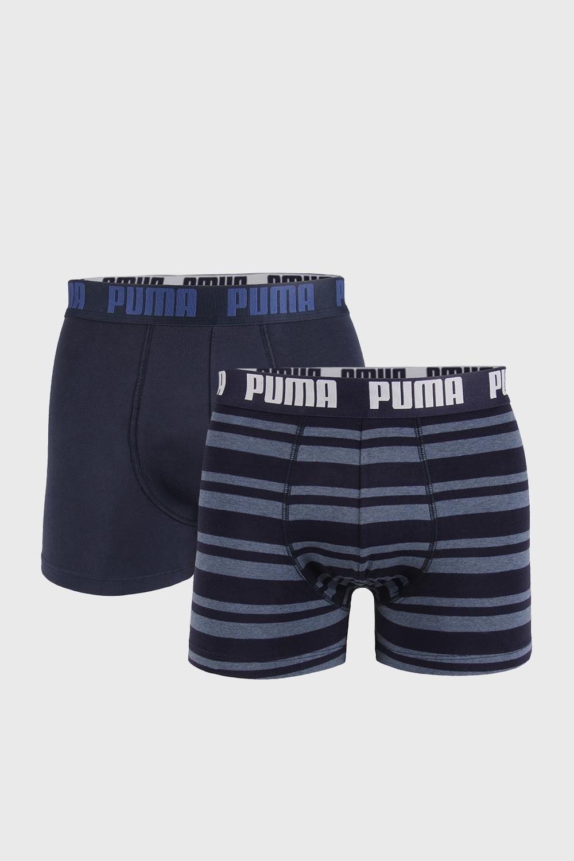 2 PACK boxeri Puma Heritage Stripe, albastru închis
