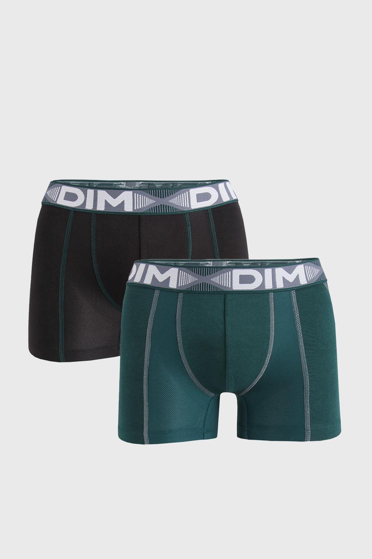2 PACK boxeri DIM Flex Air, negru-verde