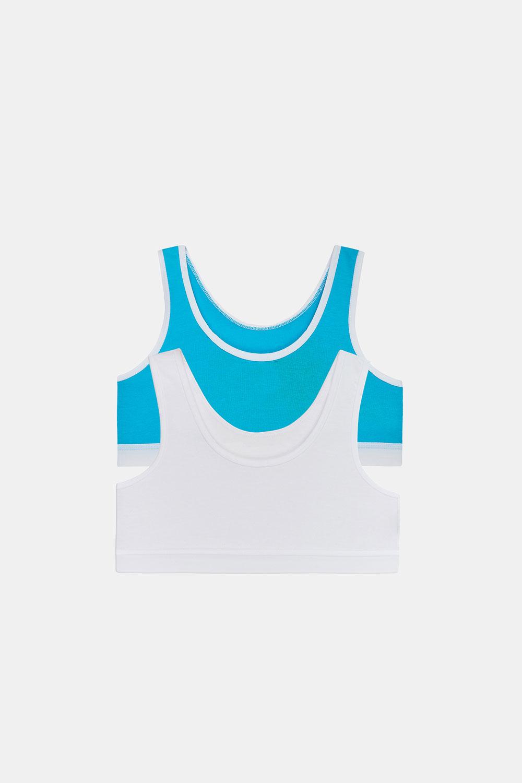 2 PACK top basic pentru fetițe Crop albastru-alb