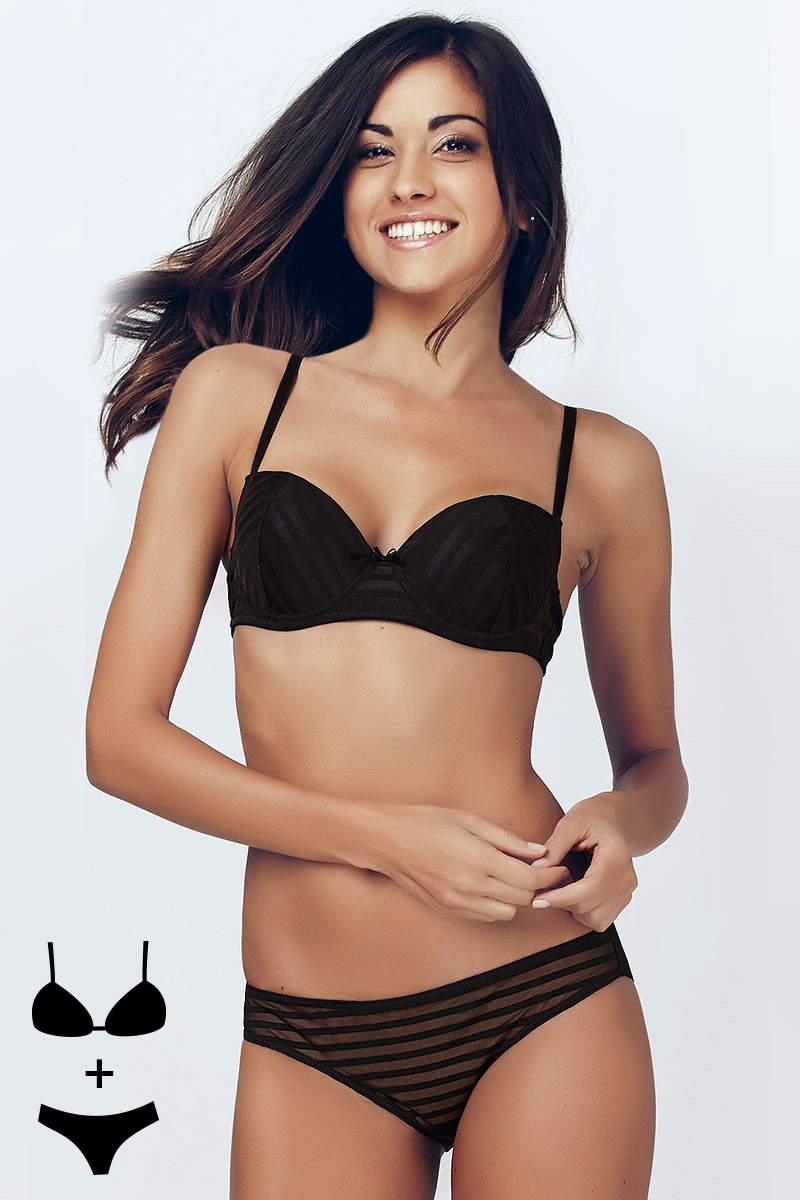 Set sutien bardot si chilot Black 4356