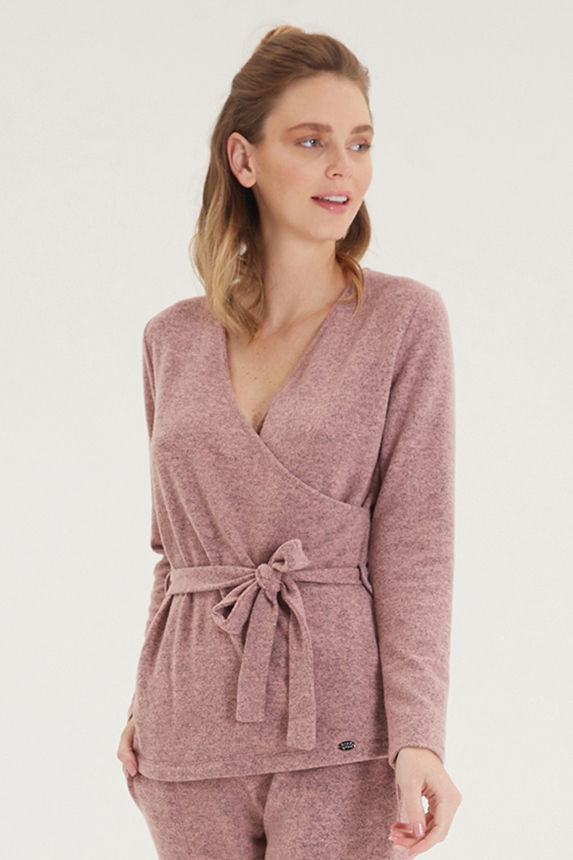 Bluză cu manecă lungă, de damă, roz