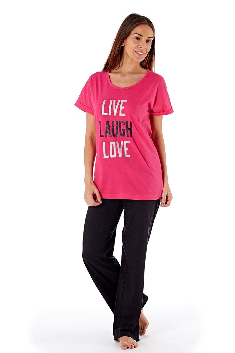 Pijama Dama Laugh Pink, Din Bumbac