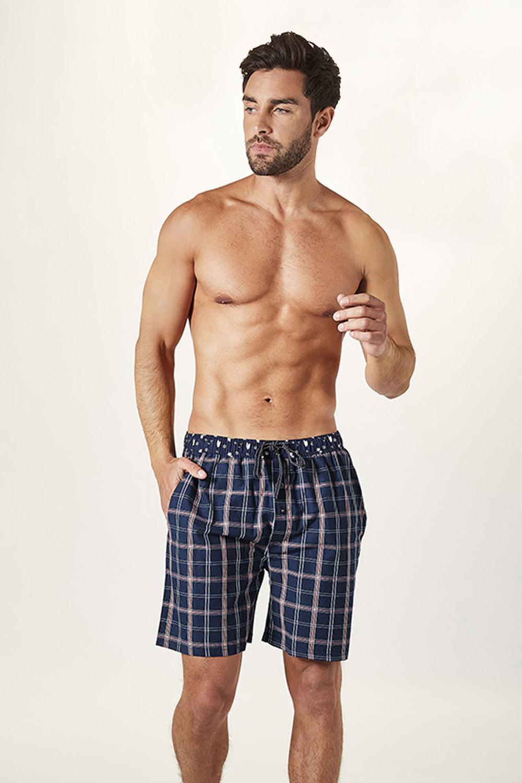 Pantalon scurt de pijama barbatesc, albastru, caroiat