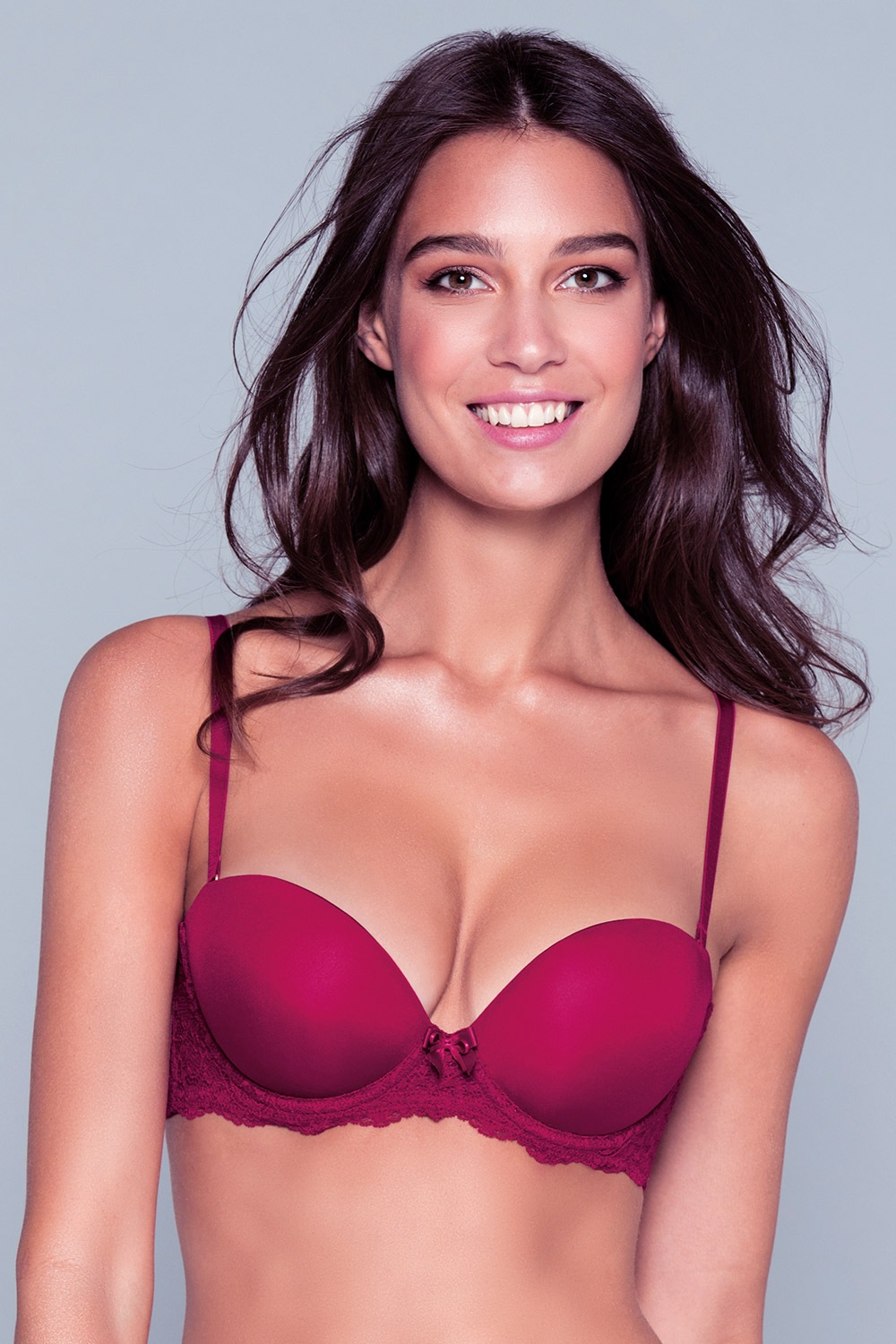 Sutien Blair Red Triple Push-Up Bardot