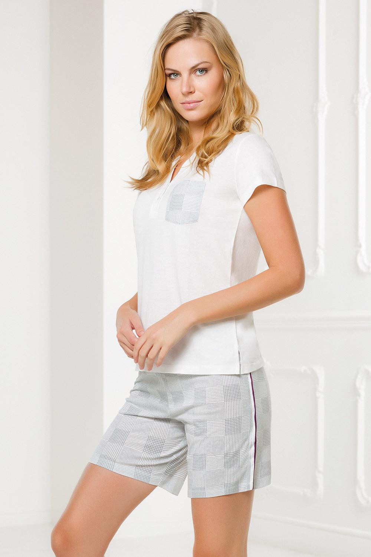 Set haine de casă Nina, alb-gri