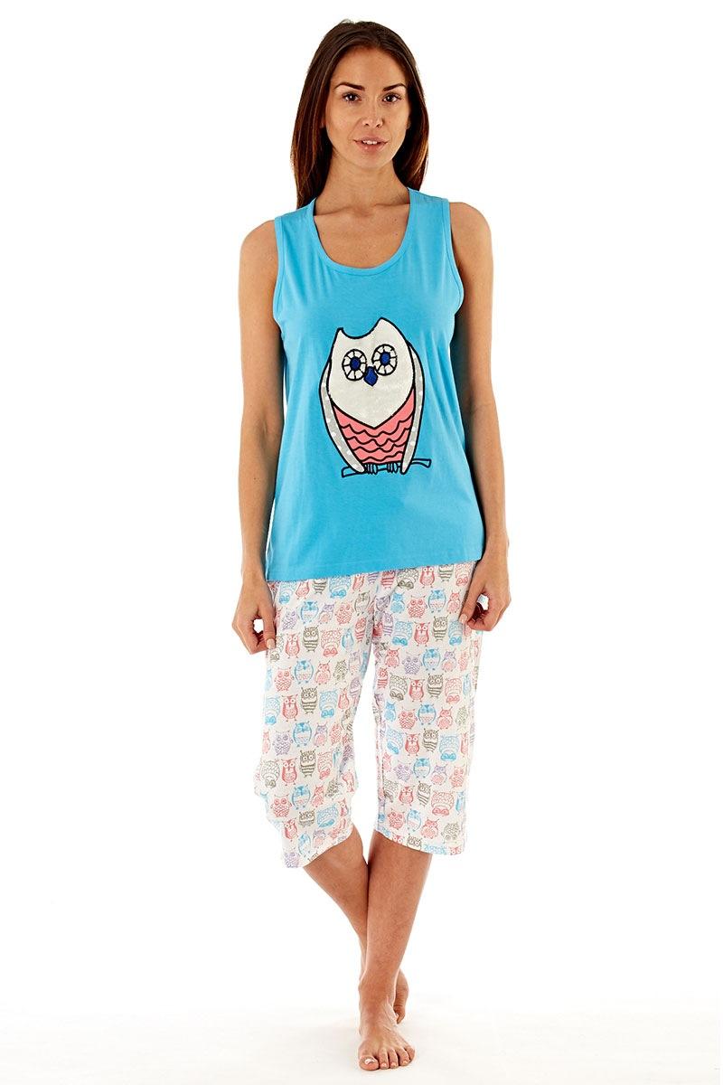 Pijama dama Owl Blue, din bumbac