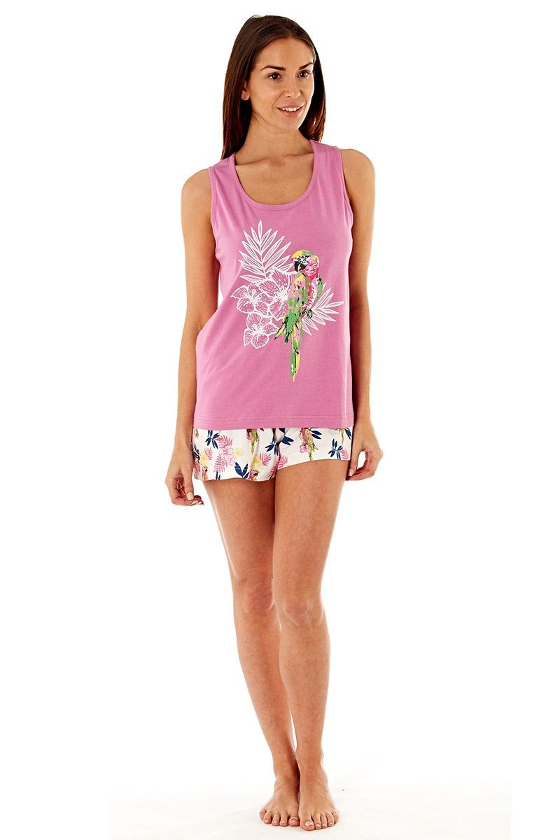 Pijama dama Parrot Pink scurta, din bumbac