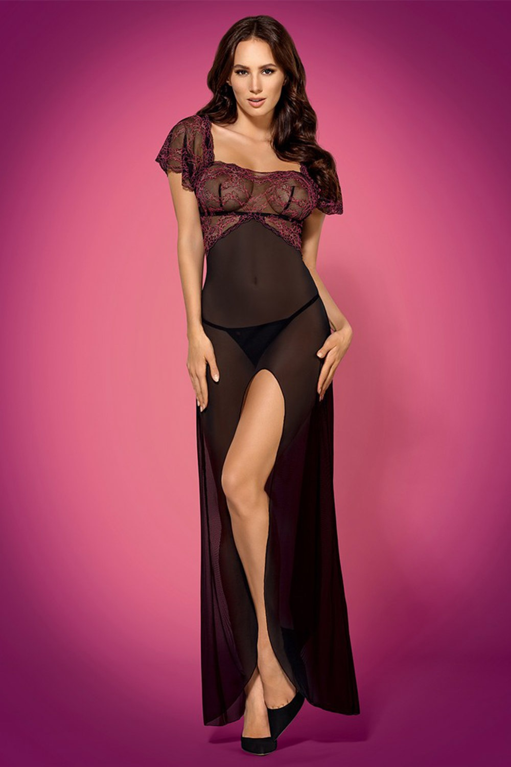 Compleu seducator Sedusia long, neglijeu si chilot